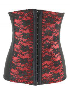 Retro Steel Boned Underbust Lace Corset - Red 2xl