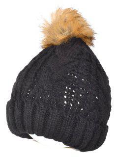Casual De Invierno Sombrero De La Bola Fuzzy Hacer Punto Beanie - Negro