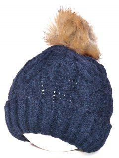 Winter Casual Knitting Beanie Fuzzy Ball Hat - Purplish Blue