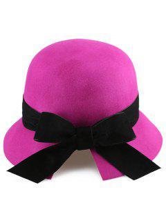 Velvet Bowknot Mesh Cloche Hat - Rose Madder