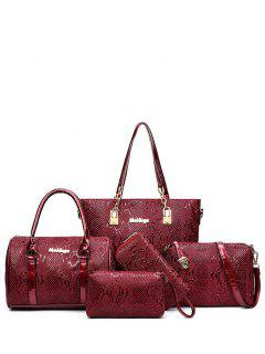 Metallic Letter Emossed Shoulder Bag - Wine Red