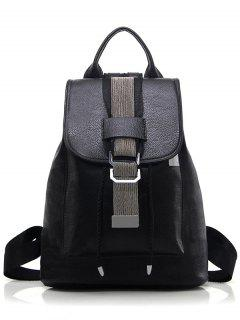 Strap Metal Textured PU Leather Backpack - Black