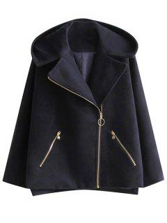Hooded Inclined Zipper Wool Blend Coat - Purplish Blue S