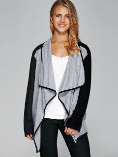 Contrast Trim Asymmetric Cardigan - Black And Grey L