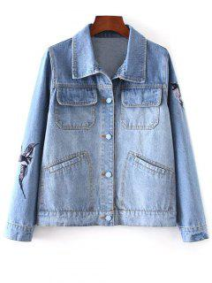 Bird Embroidered Jean Jacket - Light Blue S