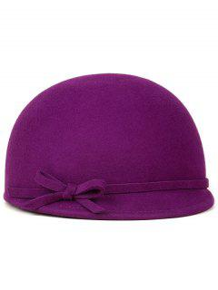 Bowknot Lace Up Cloche Hat - Amethyst