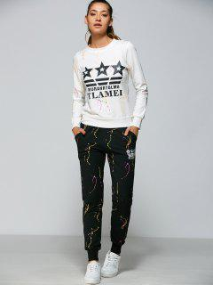 Graphic Sweatshirt And Sports Pants - White 2xl