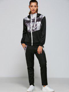 Panelled Zip Up Hoodie Y Pantalones - Negro M
