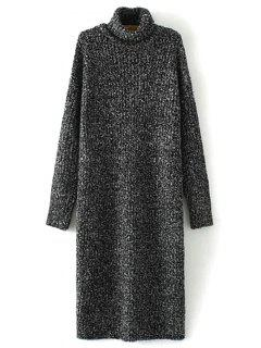 Turtle Neck Tweed Long Sweater Dress - Black