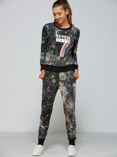 Printed Sweatshirt And Pants Set - Black 2xl