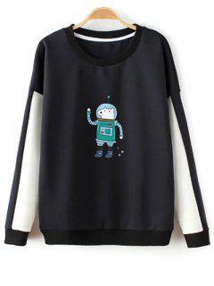 Color Block Astrodog Print Sweatshirt - Black