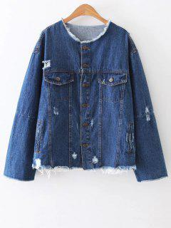 Ripped Patch Design Denim Jacket - Blue L