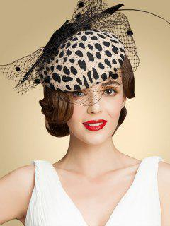 Leopard Print Bow Mash Cocktail Hat - Apricot