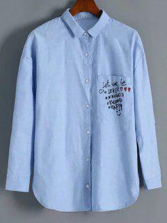 Chemise à Col Revers Avec Boutons Avec Poche à Motif De Lettres Graphiques - Bleu Clair L