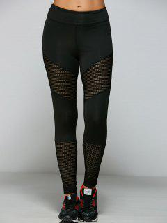 Openwork Hole Leggings - Black S