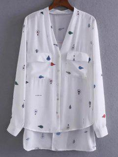 Back Slit High Low Cartoon Print Shirt - White S