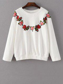 Floral Embroidered Crew Neck Sweatshirt - White L