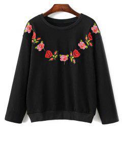 Sweat-shirt Pull Brodé De Fleur ,à Col Rond - Noir M