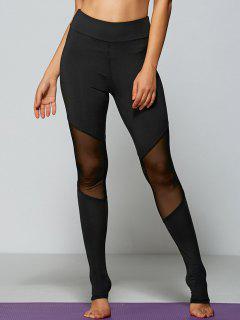Mesh Panel Tight Fit Leggings - Black S