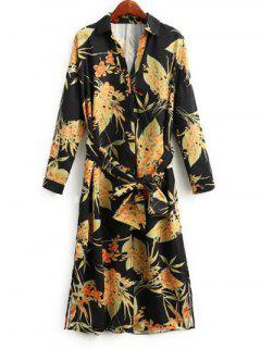 Side Slit Floral Belted Shirt Dress - Floral M