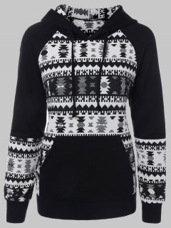 Plus Size Tribal Pullover Hoodie - Black 3xl