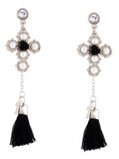 Crucifix Faux Pearl Rose Tassel Earrings - Silver
