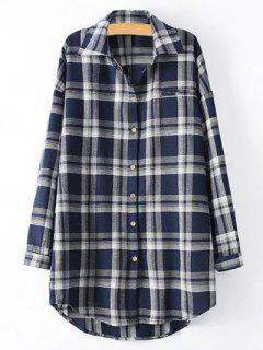 Plus Size Tartan Checkered Shirt - Purplish Blue Xl