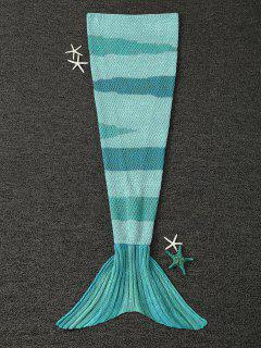 Knitted Wrap Kids Mermaid Tail Blanket - Light Green