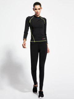 Camiseta Delgada Yoga Y Pantalones - Negro S