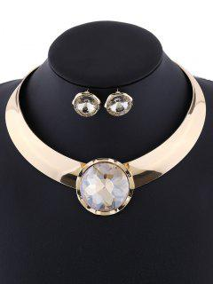 Round Fake Gem Mottle Choker And Earrings - Champagne