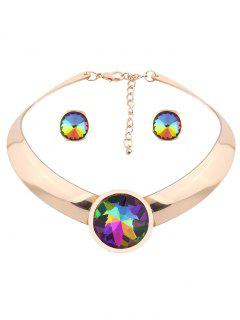 Round Fake Gem Mottle Choker And Earrings