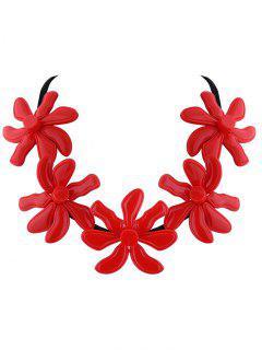 Fleur Résine Collier Agrémentée - Rouge