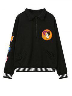 Embroidered Patch Design Sweatshirt - Black