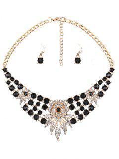 Rhinestone Leaves Flower Jewelry Set - Black