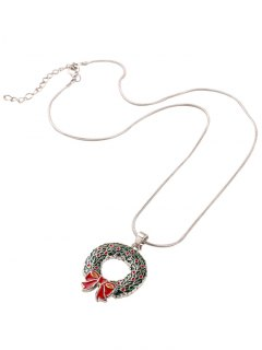 Alloy Circle Bows Christmas Pendant Necklace - Silver