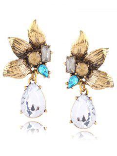 Faux Gem Rhinestone Flower Leaves Earrings - Golden