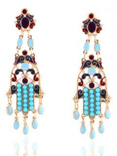 Bohemian Layered Oval Beads Earrings - Golden