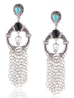 Layered Faux Turquoise Rhinestone Circle Earrings - Silver