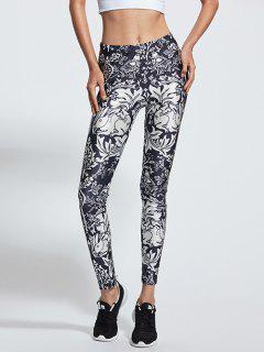 Stretchy Animal Printed Sports Pants - Blue And White S