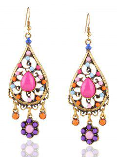 Water Drop Floral Beads Layered Earrings - Golden