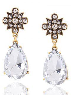 Vintage Rhinestone Water Drop Flower Earrings - Golden