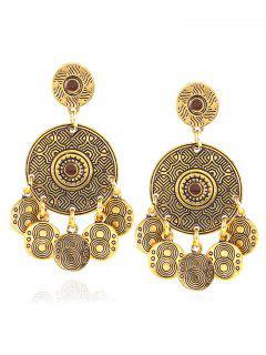 Vintage Alloy Engraved Circle Earrings - Golden