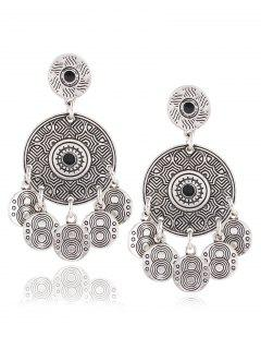 Vintage Alloy Engraved Circle Earrings - Silver