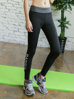 Skinny Letter Printed Running Pants - Black And Grey S