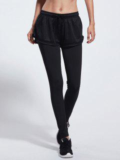 Pantalones Gimnasia Del Color Bloque Con Cordón - Negro S