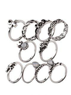 Elephant Crucifix Flower Water Drop Rings - Silver One-size