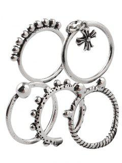 Vintage Alloy Beads Crucifix Cuff Rings - Silver One-size