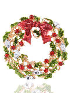 Rhinestone Leaves Bows Christmas Brooch - Golden