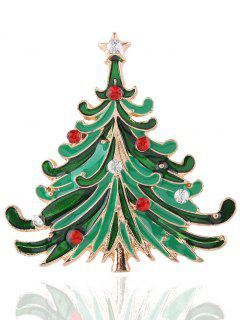 Rhinestone Star Christmas Tree Brooch - Golden