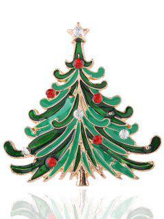 Broche Arbre De Noël Strass étoile - Or